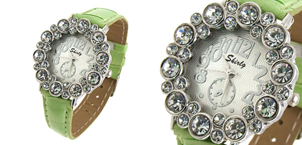 Fashion Jewelry Round Crystal Ladies Girls Leatherette Wrist Watches Green Band