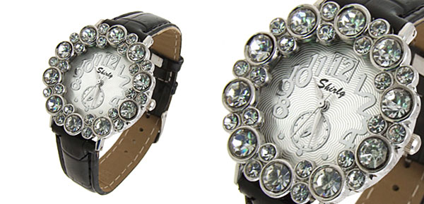 Fashion Jewelry Round Crystal Ladies Girls Leatherette Wrist Watches Black Band
