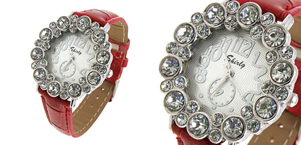 Fashion Jewelry Round Crystal Ladies Girls Leatherette Wrist Watches Red Band