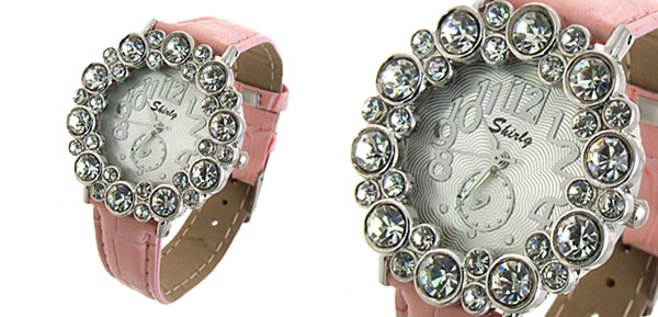 Fashion Jewelry Round Crystal Ladies Girls Leatherette Wrist Watches Pink Band