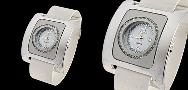 Fashion Jewelry Silver Square Ladies Wrist Quartz Strap Watches White Band