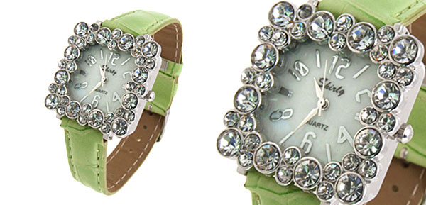 Fashion Jewelry Square Crystal Ladies Girls Leatherette Wrist Watches Green Band