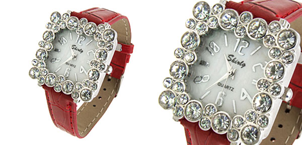 Fashion Jewelry Square Crystal Ladies Girls Leatherette Wrist Watches Red Band
