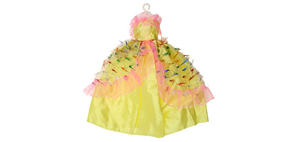 Fashion Wedding Party Doll Fairy Princess Yellow Cloth Dress