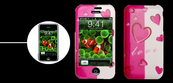 Heart Pattern Plastic Case for iPhone 1st Generation
