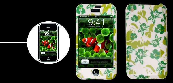 Stylish Green Leaves Plastic Case for iPhone 1st Generation