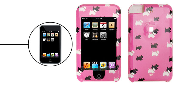 Dog Pattern Plastic Protector Hard Case for Apple iPod Touch Pink 1st Generation
