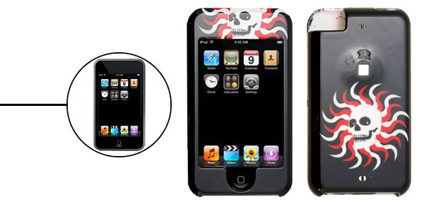Fire Skull Pattern Plastic Protector Hard Case for Apple iPod Touch Black 1st Generation