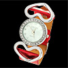 Stylish Double Heart Design Crystal Ladies Leather Wrist Watches Red Band