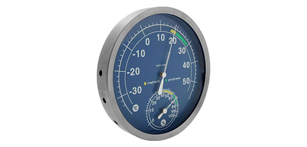 In-Out Doors Wall-Mounted Thermometer & Hygrometer Blue