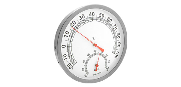 In-Out Doors Wall-Mounted Thermometer & Hygrometer White