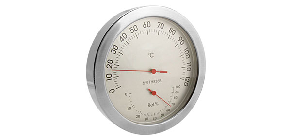 In-Out Doors Wall-Mounted Thermometer & Hygrometer Silver