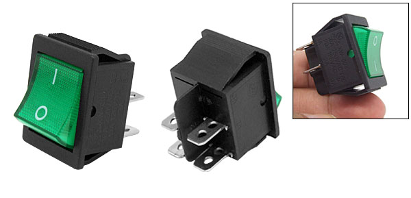 Green Light 4 Pin DPST ON/OFF Snap in Boat Rocker Switch 16A/250V 15A/125V AC