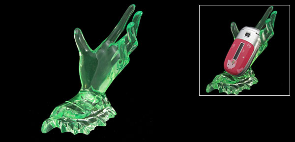 Deluxe Desktop Crystal Plastic Hand Holder for Cell Phone Mp4 PDA Green