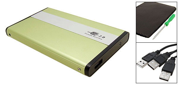 Grass Green 2.5'' IDE HDD Hard Disk Enclose USB 2.0 Hard Disk Drive Case