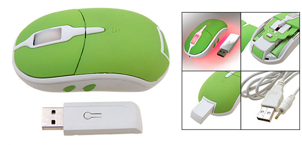 Cool 800 Dpi Rechargeable USB2.0 Wireless Optical Computer Mouse Green