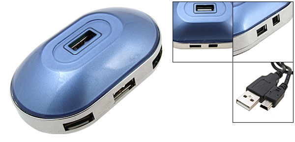 Blue Hi-Speed 4 Port Mini USB 2.0 Hub