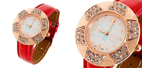 Fashion Jewelry Golden Leaves Design Diamond Ladies Leather Quartz Wrist Watch Red Band