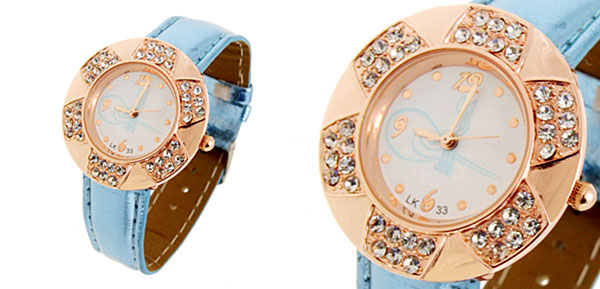 Fashion Jewelry Golden Leaves Design Diamond Ladies Leather Quartz Wrist Watch Blue Band