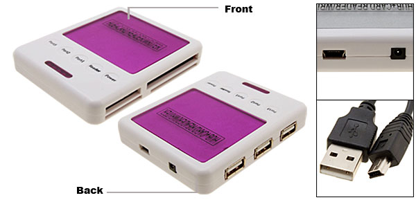 Purple All In 1 Card Reader Writer + 3Port USB Hub