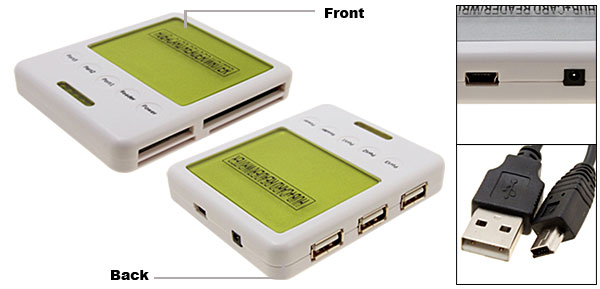 Grass Green All In 1 Card Reader Writer + 3Port USB 2.0 Hub