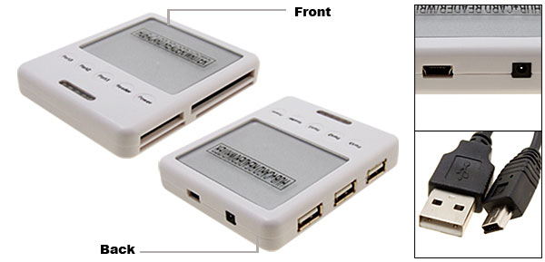 Silvery All In 1 Card Reader Writer + 3Port USB 2.0 Hub