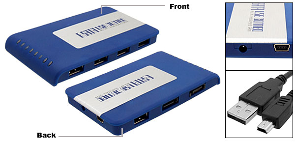 Blue USB to SATA/ESATA with 5 USB Ports Combo Hub