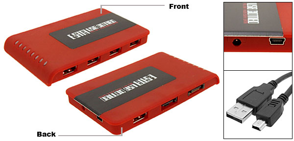 Red USB to SATA/ESATA with 5 USB Ports Combo Hub