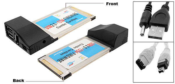USB 2.0 PCMCIA +Firewire IEEE 1394 CardBus COMBO for PC