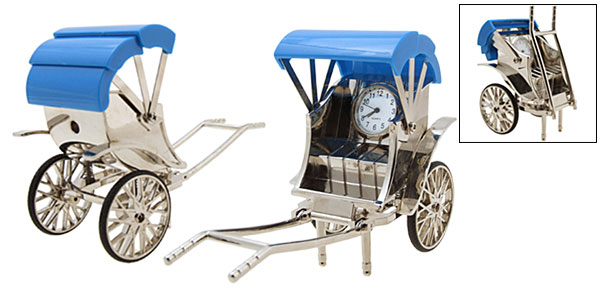 Fashion Unique Metal Silvery Model Rickshaw Desk Clock