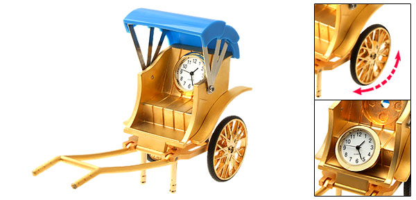 Unique Metal Golden Model Rickshaw Desk Clock