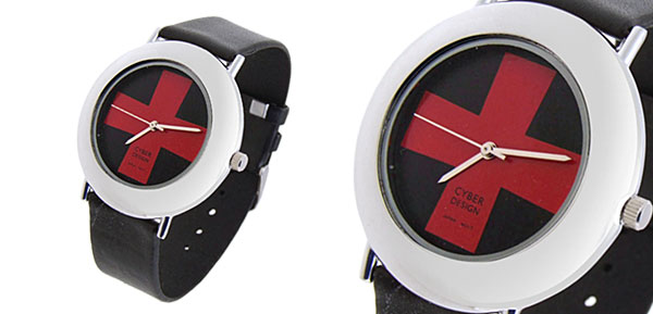 Fashion Jewelry Red Cross Ladies Quartz Wrist Watches Black