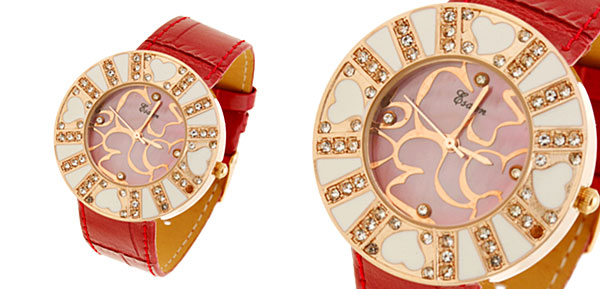 Fashion Jewelry Red Luxuriant Quartz Wrist Watches