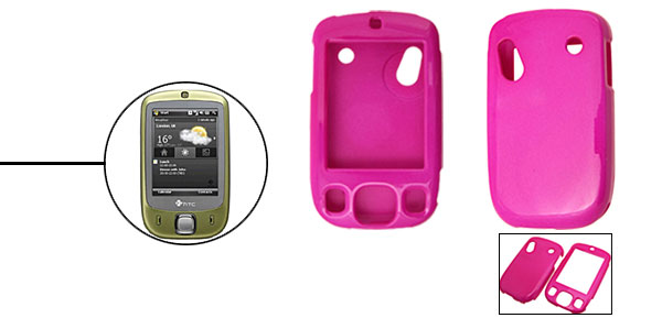 Purple Deluxe Plastic Hard Case Holder for HTC-TOUCH