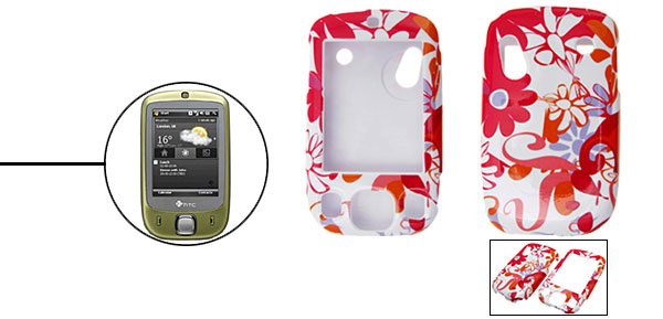 Flowered Deluxe Plastic Hard Case Holder for HTC-TOUCH