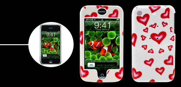 Protective Deluxe Red Heart Pattern Plastic Hard Case Holder for Apple iPhone 1st Generation