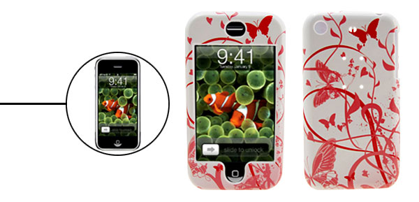 Butterfly Pattern Deluxe Plastic Hard Case Holder for Apple iPhone 1st Generation