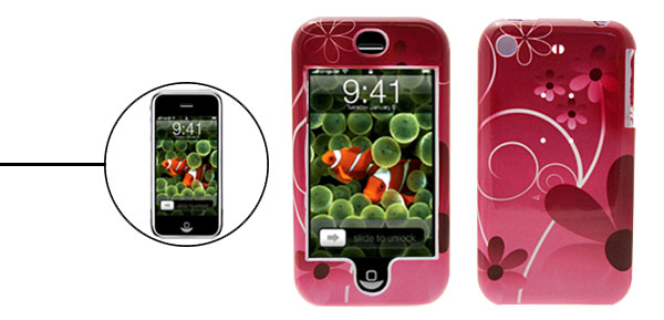 Flower Pattern Deluxe Fuchsia Plastic Hard Case Holder for Apple iPhone 1st Generation