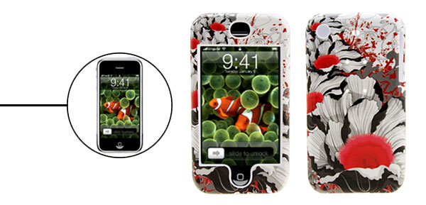Flowered Deluxe Plastic Hard Case Holder for Apple iPhone 1st Generation