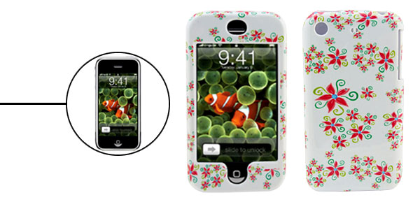 Flowery Pattern Deluxe Plastic Hard Case Holder for Apple iPhone 1st Generation