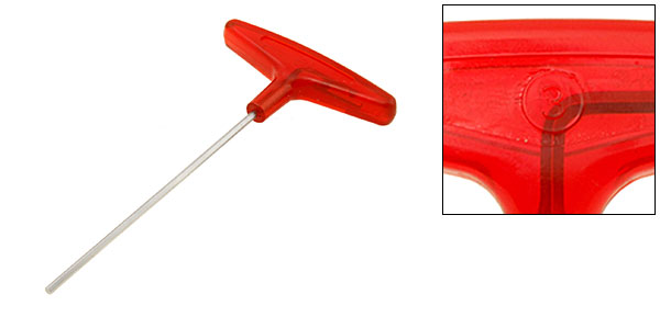 Red T-Handle Hex Metric Wrench Tool Size 3mm