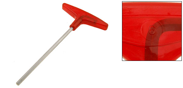 Metric Red T-Handle Hex Wrench Tool (Size 6mm)