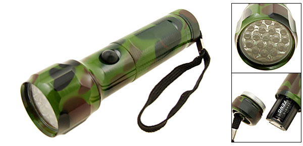 Army Camouflage 19 LED Mini Handy Torch Flashlight