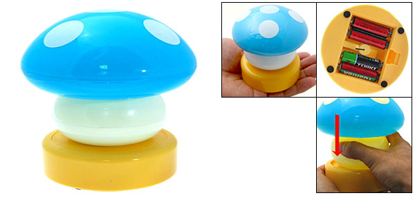 Blue Mushroom Head Press Down Desk Lamp Night Light