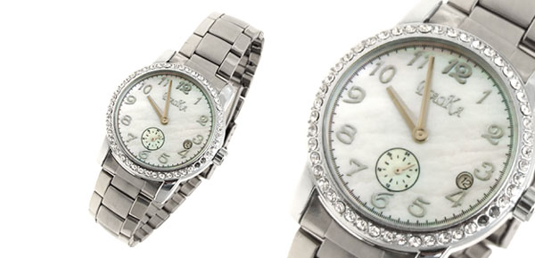 Fashion Jewelry Stainless Steel Band Pearl Color Dial Ladies Rhinestone Watch