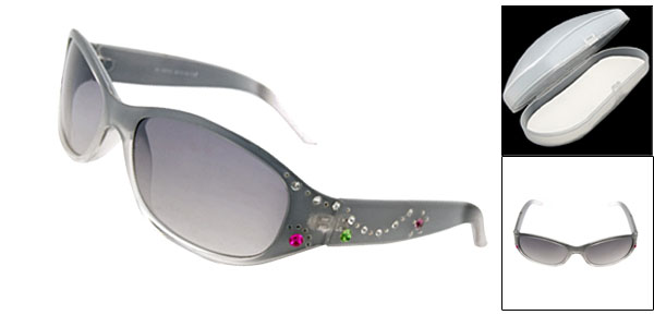 Transparent Grey Fashion Eyewear Lady Rhinestone Sunglasses