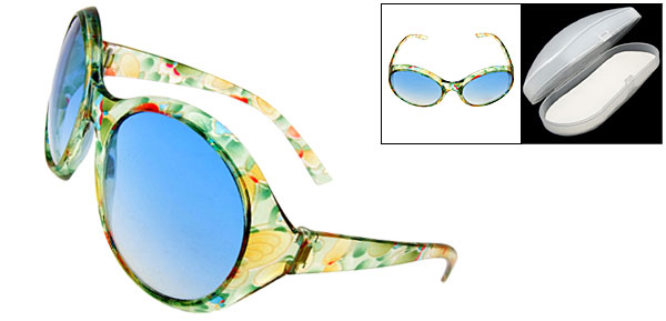 Clement Crystal Frame Blue Lens Fashion Eyewear Lady Sunglasses