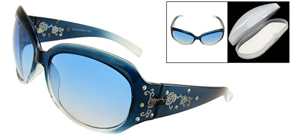 Clement Black Frame Blue Lens Fashion Eyewear Sunglasses