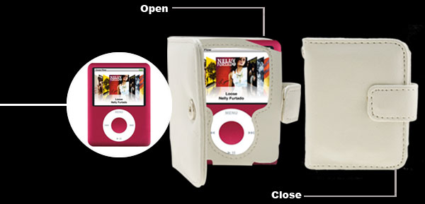 White Leather Case For iPod Nano 3G