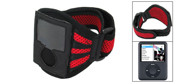 Washable Sports Black & Red Armband Case for iPod Nano 3rd